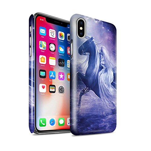 Officiel Elena Dudina Coque / Clipser Brillant Etui pour Apple iPhone X/10 / Coeur Noir Design / Super Héroïne Collection Amazona