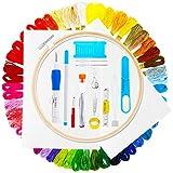 Winiron Stickerei Set, Embroidery Starter Kit Stickerei Set Kreuzstich Tool mit Bambusreifen, Fäden, Nadeleinfädler für Kinder, Erwachsene und Anfänger