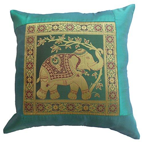 De colour turquesa flores elefantes almohada almohada 41,5 cm x 41,5 cm...