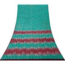 Vintage Verde Cosecha India Crepe de Seda Sari Bordado Vestido Sari Haciendo Tela 5 YDS