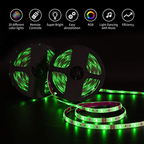 Tira LED 10M(5Mx2) RGB 5050,  Bellababy Tiras LED Vistoso con Control Remoto de 44 Teclas y Fuente de Alimentación,  12V 5A,  300 LED,  Luces LED Decorativas para Navidad,  Halloween,  fiestas y Bodas