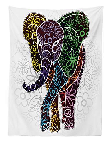 ABAKUHAUS Batik Tapiz de Pared y Cubrecama Suave, Gran Elefante Digital con Líneas Florales y Figuras Tribales Imagen Tema Vida Salvaje, Colores Firmes y Durables, 110 x 150 cm