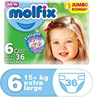 Molfix Anti Leakage Comfortable Extra Large Baby Diapers, Above 15 kg, 36 Count