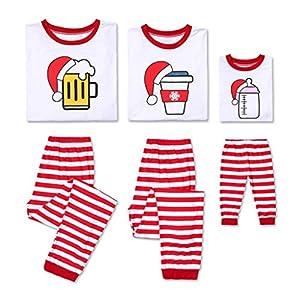 SCU-SS Pijamas Navideños Familia Feliz Navidad Impreso Manga Larga Tops Pantalones Ropa Dormir Trajes para Papá Mamá Niños (Color : Kid(100)) 12