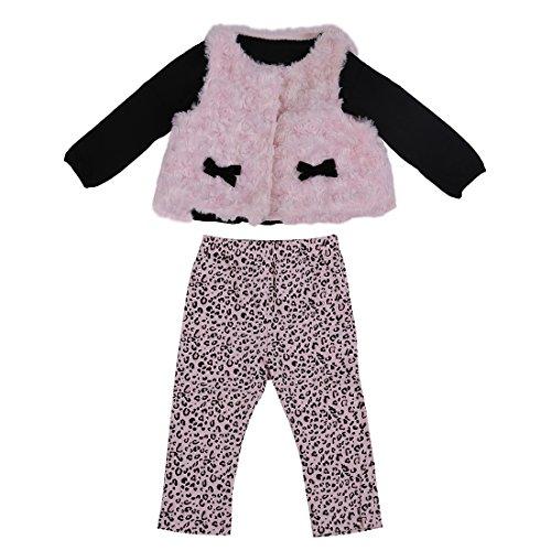 Kind Kleidung Sets - TOOGOO(R)Baby Maedchen Kleidung Set Blumen schwarz Oberteile + Hose + rosa Weste Kind Kleidung Sets - 24M
