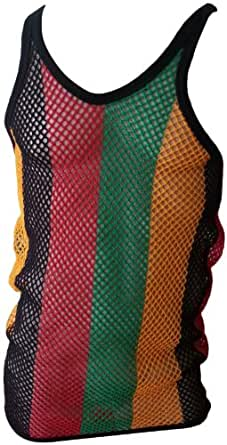 CRAZY Lizard String Vest - Rasta 3 sizes 100% Cotton Quality String Vest., Red,Yellow,Green, Medium