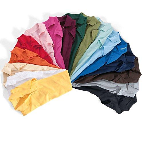 BODYTEC Damen-Poloshirt, 4er Knopfleiste, figurbetont, Baumwolle Weiß