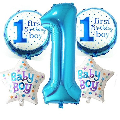 TradicoR Baby Boy 1st Birthday Party Decoration Supplies Jumbo Foil Balloons Banner