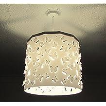 Pantalla Lámpara Colgante Mariposas Blancas (otros colores disponibles) Drum + Dispositivo Magnético, cambia la pantalla de forma fácil, rápida y segura incluso con la luz encendida. Perfecta para guarderías, peques, niños, recién nacidos