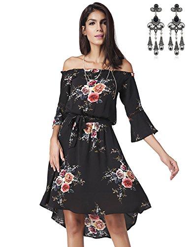 Modetrend Femmes Robe Bohême à Bandeau Rétro Imprimé Floral Été Robe de Plage en Vacances Sans Bretelles Noir