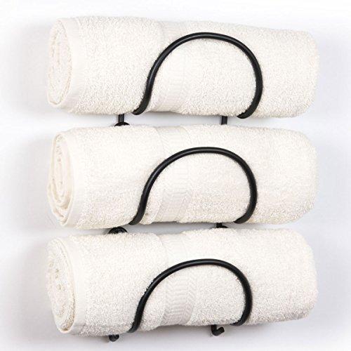 Handtuchhalter aus massivem Schmiedeeisen, Wandmontage, rustikales Dekor - Badezimmer-Organizer, Schwarz, 3 Stück Casual Curved Finish schwarz