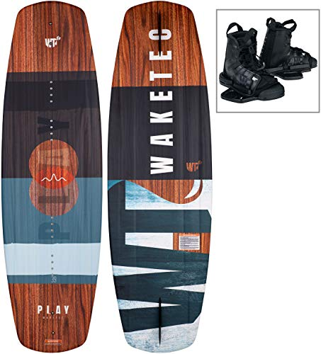 WAKETEC Wakeboard-Set Play 139 cm mit Moto Bindung, Package für Anfänger und Fortgeschrittene, leicht zu Fahren, Körpergewicht 50-90+ kg, Kinder Erwachsene Einsteiger Set, blau-grau, Größe:L-XL