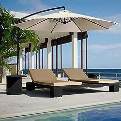 Yellowshop. Sombrilla de jardín. Diámetro 3x 3m. Excéntrico, en acero de exterior; muebles de piscina, glorietas/carpas, terraza, bar, hotel, balcón.
