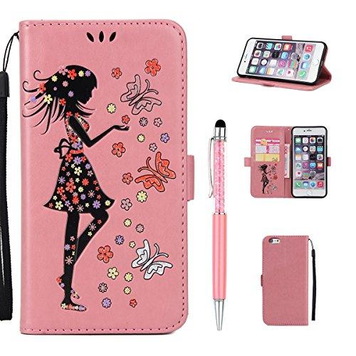 Cover per iPhone 6 Plus,per iPhone 6S Plus Custodia Pelle, ZCRO Premium Cuoio Libro Portafoglio Cover con Ragazza Fiori Farfalla Brillantini Elegante Glitter Colorate Disegni Supporto Stand Case Antiu Modello 2 Rosa