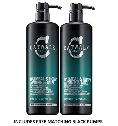 Catwalk Flocons d'avoine & Miel Tween Duo shampoing et après-shampoing pour cheveux secs, abîmés 2x 750ml avec 2sans pompe