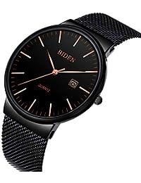BINZI Mens Business Calendar Waterproof Watch Ultra-thin Stainless Steel Mesh Casual Quartz Watch For Men Blue...