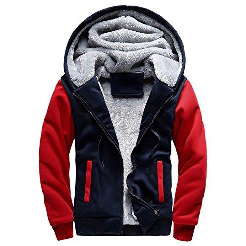 Preisvergleich Produktbild SANFASHION Herren Mantel Hoodie Pullover Winter Warm Fleece Reißverschluss Sweatshirt Jacke Outwear Mantel (Rot-W02, L)
