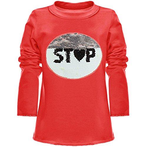 BEZLIT Mädchen Wende-Pailletten Long Shirt Bluse Langarm Sweat Shirt 21008 Rot Größe 152
