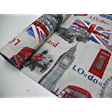 Confección Saymi - Metraje 2,45 mts tejido loneta estampada Ref. London, con ancho 2,80 mts.