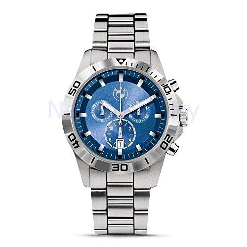 Original BMW-Sport-Chronograph, Herren-Armbanduhr, Silber/Blau,Durchmesser: 43mm