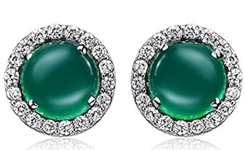 SaySure - S925 Solid Silver Green Natural Stone Earring
