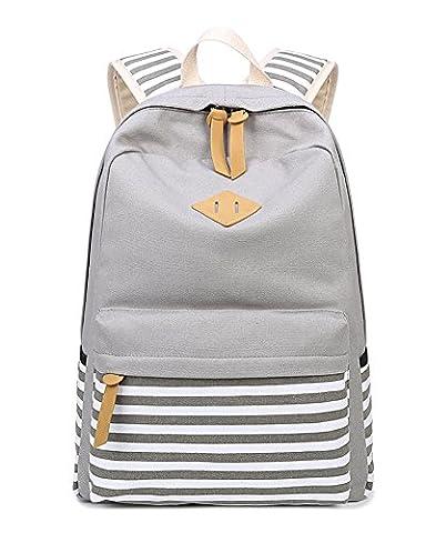 Student Canvas School Backpack Striped Cute Laptop Bag Shoulder Rucksack Daypack Grey