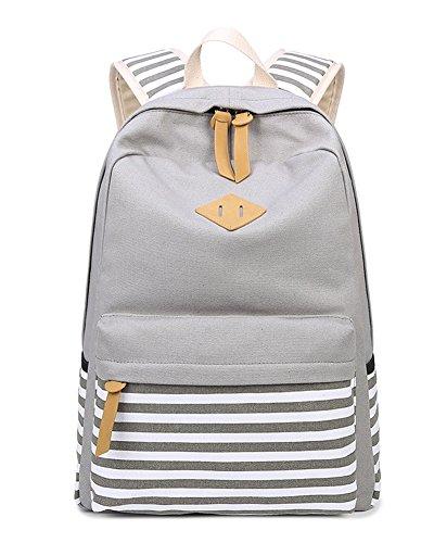 Canvas Vintage Bunten Streifen Polka Dot Schultasche für Jugend Teenager Mädchen jungen lässig Daypack Schultertasche Rucksack Grau