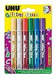 Uhu D1549 Glitter Glue Uhu, Original, Assortiti, 10 ml, Confezione da 6