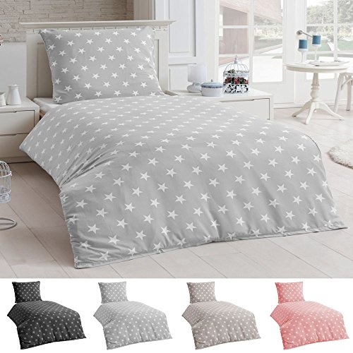 Bettwäsche Microfaser Bettbezug 135x200 Sterne Kissenbezug Grau Taupe Silber, Farbe:Silber