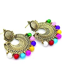 The Purest Sin Oxidized Gold Earrings Jhumki For Women With Multicolor Beads