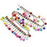 yalulu 2Meter Regenbogen pom pom Ball Spitze Quaste Pompon Trim Bälle Fransen Ribbon Apparel stoffhalteband DIY Craft Nähen Supplies, Wide, 4,5 m