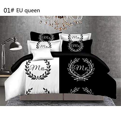 Copripiumino Dream Fun.Dream Cool Set Copripiumino Fashion Style Funny Bedding Bianco E Nero Degli Amanti Della Coppia Mr And Mrs 3pcs Set Di Biancheria Da Letto In Cotone