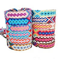 Ototon Braided Friendship Bracelet Colorful Handmade Nepal Style Woven Bracelets Souvenir Adjustable for Women Men Random Color 2pcs