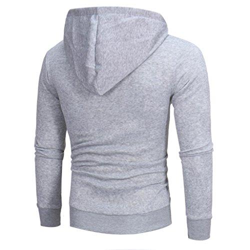 Felpa con Cappuccio Uomo, Beauty Top 2017 Hooded Sweatshirt Manica Lunga Hoodie Cappotto Giacca Pullover Felpe Top Outwear Grigio