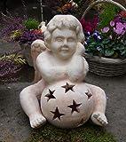 Engel auf Sternkugel 38 cm hoch, echt Terracotta Terrakotta Garten Deko Elfe Kopf Figur Weihnachten Nikolaus