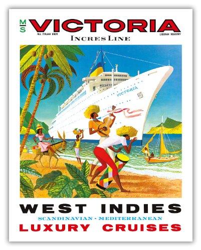Pacifica Island Art West Indies, Skandinavisch, Mediterran-Incres Linie Luxus-Kreuzfahrten-Ms Victoria Cruise Liner-Vintage Ocean Travel Poster c.1971-Fine Art Print 11