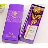 Craftdia Golden Rose Flower 24 K Special Gift For Valentines,Love Ones, Rose Day, Birthday With Gift Box And Carry Bag