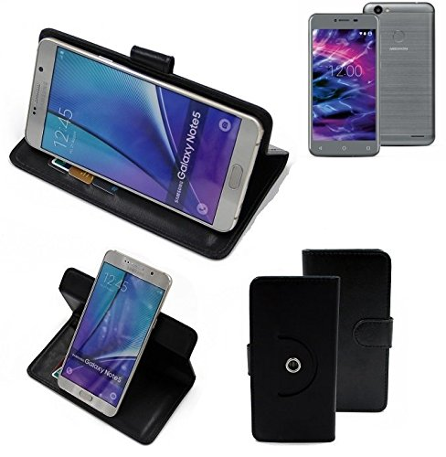 K-S-Trade® Hülle Schutzhülle Case für Medion E5008 Handyhülle Flipcase Smartphone Cover Handy Schutz Tasche Bookstyle Walletcase schwarz (1x)