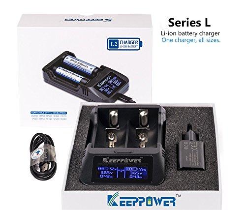 KeepPower L2 intelligentes LCD Ladegerät für Lithium Ionen Akkus