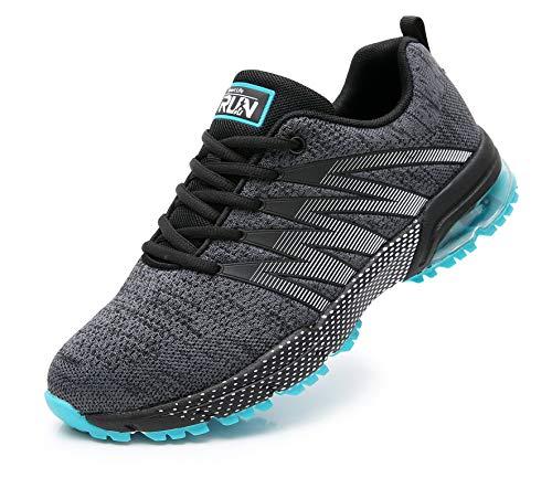Azooken Herren Damen Sportschuhe Laufschuhe Turnschuhe Sneakers Leichte Fitness Mesh Air Sneaker Straßenlaufschuhe Outdoor(8995 GreyBL44)