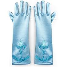Frozen - Princesa Elsa, vestido de disfraz cosplay, guantes para niños de 2 - 9 años, color azul (Katara)