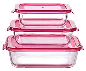 Buy Sanjeev Kapoor Calgary Oblong Glass Container Set Set of 3 Red