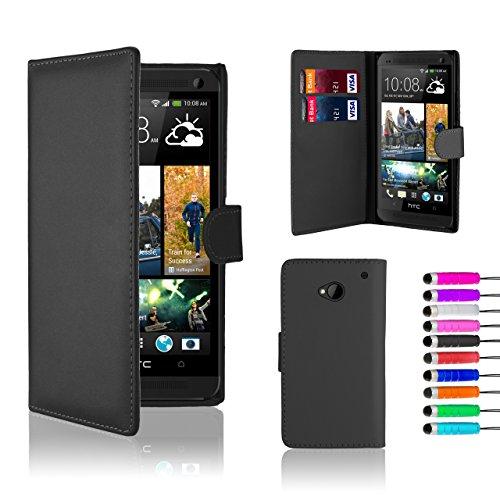 32nd® Schutzhülle für HTC One (M7), aus Kunstleder, inklusive Displayschutz, Reinigungstuch und Stylus, im Buchdesign - Schwarz