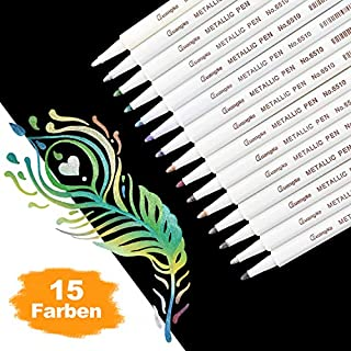 DealKits Premium Metallic Marker Stifte, Satz von 15 sortierten Farben Metallischen Stift Pens für Kartenherstellung DIY Fotoalbum Gästebuch Hochzeit Papier Glas Kunststoff Stein - Feiner Spitze(1MM)