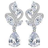 EVER FAITH® - Feuilles et Bouton - Boucle d'Oreilles Argent 925/1000 Zircon Luxueux Mariage Fleur Clair