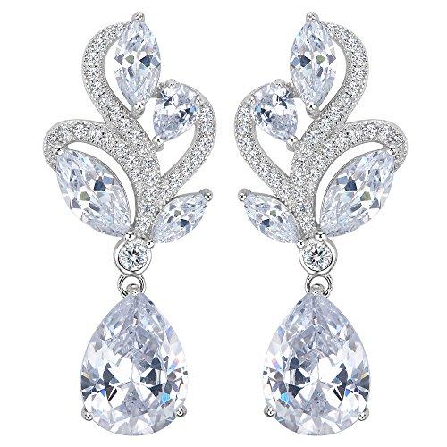 EVER FAITH® Damen 925 Sterling Silber CZ Luxury Hochzeit Blume Tropfen Dangle Ohrringe klar