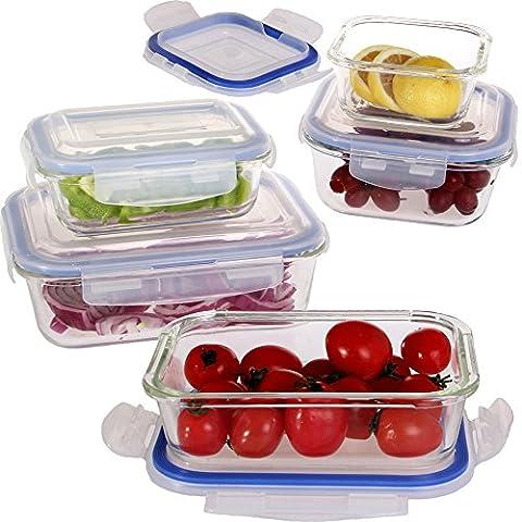 Vhari Lot de 5 boîtes de rangement alimentaire en verre borosilicate + 5 couvercles plastiques sans BPA Étanches et antifuites Adaptées au four, au micro-ondes, au congélateur et au