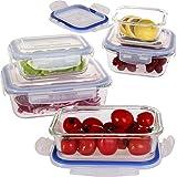 Vhari Lot de 5 boîtes de rangement alimentaire en verre borosilicate + 5 couvercles plastiques sans BPA Étanches et antifuites Adaptées au four, au micro-ondes, au congélateur et au lave-vaisselle