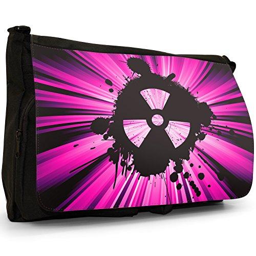 Radio Active, motivo: simbolo di pericolo nucleare, colore: nero, Borsa Messenger-Borsa a tracolla in tela, borsa per Laptop, scuola Nero (rosa)