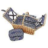 Picknickkorb für 4 Personen aus Weide - 26tlg. mit passender Decke, Keramik Geschirr und Kühlfach - Picknickkoffer Set Blau Weiß gestreift